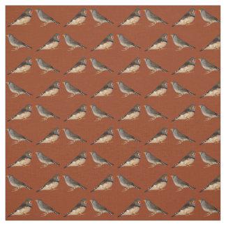 Tecido dos passarinhos de zebra (laranja queimada)