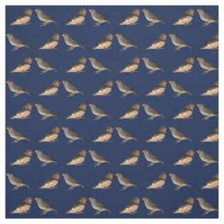 Tecido dos passarinhos de zebra (marinho)