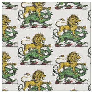 Tecido Emblema heráldico da crista do leão e do dragão