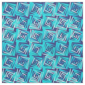 Tecido Espirais quadradas modernas, marinho e Aqua do