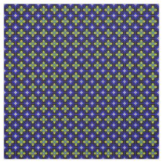Tecido Estrutura azul com teste padrão de flores amarelas