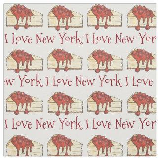 Tecido Eu amo a fatia do bolo de queijo NYC da cereja da