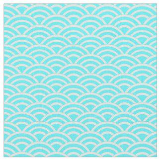 Tecido Fãs azuis e brancos