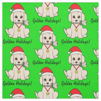 Tecido Filhote de cachorro dourado no chapéu do papai