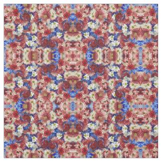 Tecido Flora azul branca vermelha