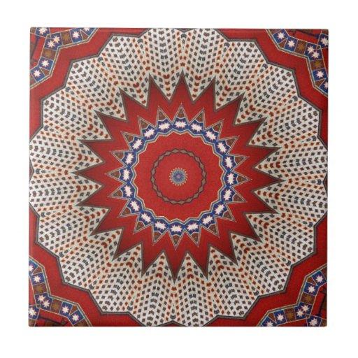 Tecido floral árabe do vintage do motivo da era do azulejos