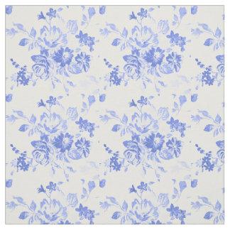 Tecido floral azul bonito do teste padrão