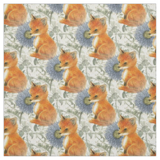 Tecido floral azul da hera do Fox do bebê