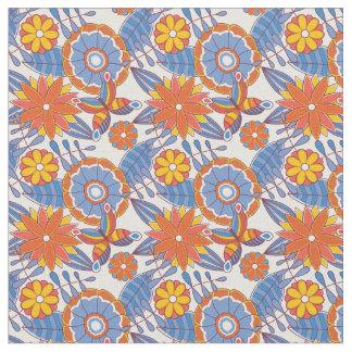 Tecido Floral azul e alaranjado retro