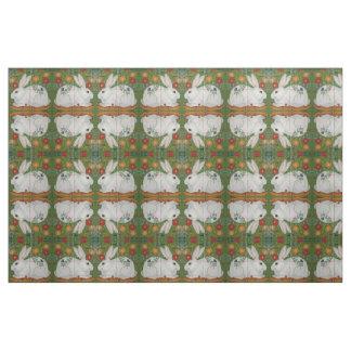 Tecido floral da arte popular do verde branco