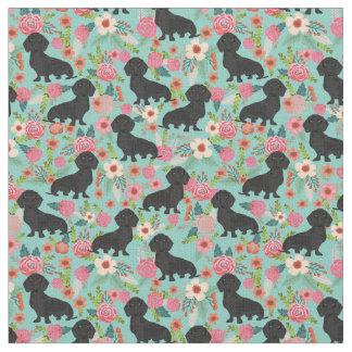 Tecido floral de Doxie - dachshund preto - hortelã