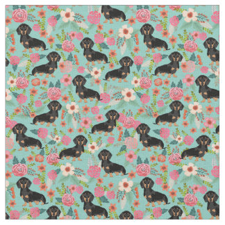 Tecido floral de Doxie - preto e doxie tan -