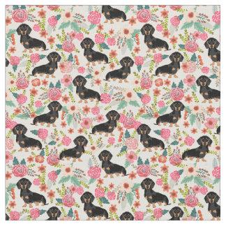 Tecido floral de Doxie - preto e doxie tan - creme