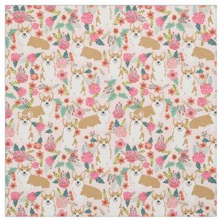 Tecido floral do Corgi - rosa