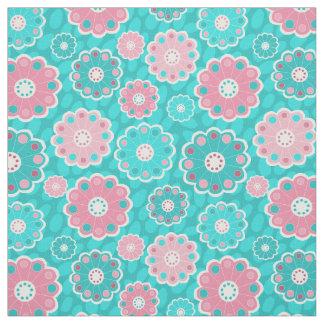 Tecido Floral fresco do rosa e do aqua