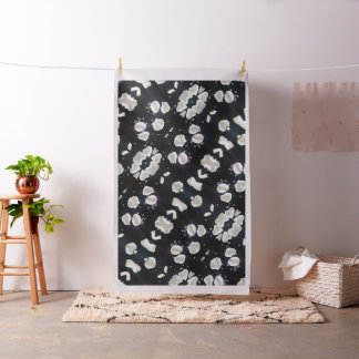 Tecido Floral preto & branco