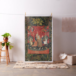 Tecido Floral verde vermelho do UNICÓRNIO E da SENHORA