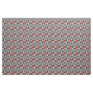 Tecido Flores abstratas no preto, no branco e no vermelho