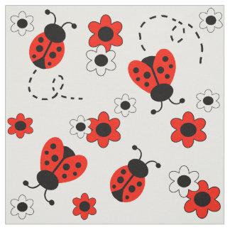 Tecido Flores brancas vermelhas da senhora Desinsetar