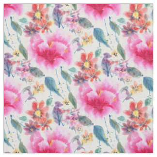 Tecido Flores coloridas bonitos da aguarela