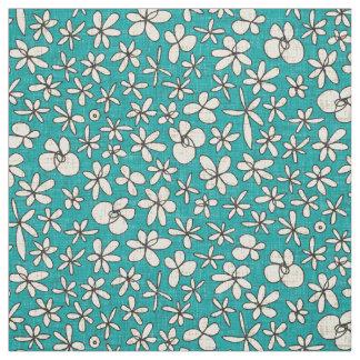 Tecido flores de festão azuis