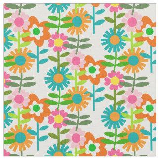 Tecido flores do estilo dos anos 60