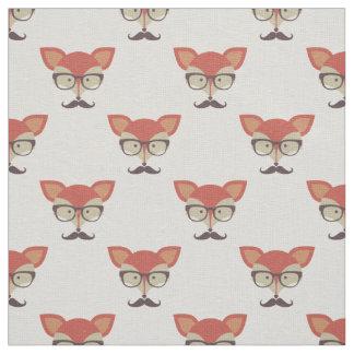 Tecido Fox do hipster, vidros e bigode