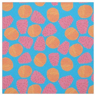 Tecido Framboesas, tangerinas no azul de turquesa