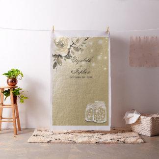 Tecido Frasco de pedreiro floral do ouro do contexto da