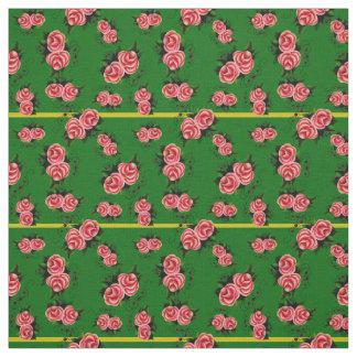 Tecido Frostrosen, flor cor-de-rosa dos povos, botão,