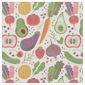 Tecido Frutas & vegetarianos da aguarela