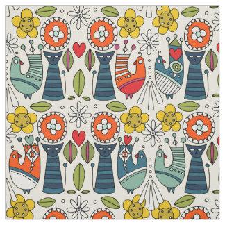 Tecido Gatos e pássaros folksy suecos
