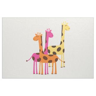 Tecido Girafas amarelos, cor-de-rosa e alaranjados