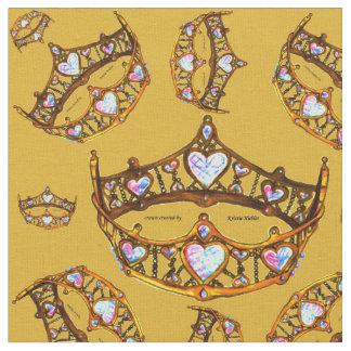 Tecido Goldenrod do teste padrão da tiara da coroa do