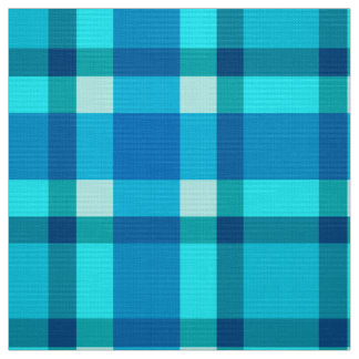 Tecido Grandes xadrez, azuis cobaltos, Aqua & turquesa