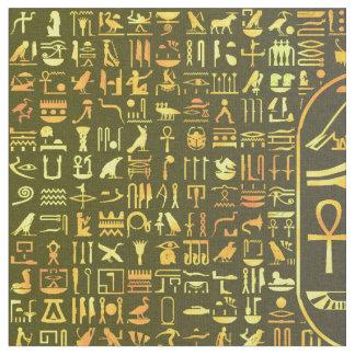Tecido Hieroglyphics do ouro