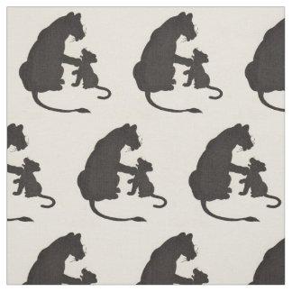Tecido impressão da silhueta do leão e do filhote da mãe