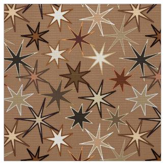 Tecido Impressão de Starburst, café Brown e bege modernos