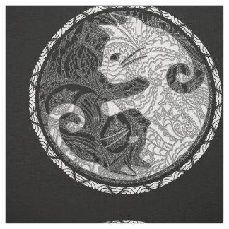 Tecido Impressão de Yin Yang Paisley do gato