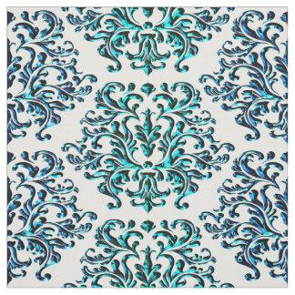 Tecido Impressão do damasco do verde azul em algum fundo