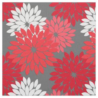 Tecido Impressão floral moderno do quimono, vermelho e