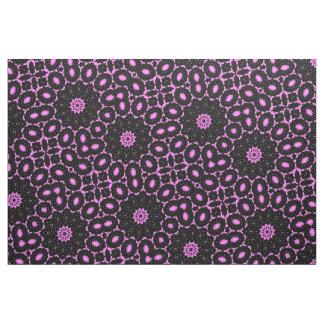 Tecido Impressão preto cor-de-rosa do Doily da margarida