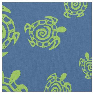 Tecido Impressão verde e azul da tartaruga