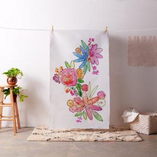 Tecido in situ com flores da aguarela