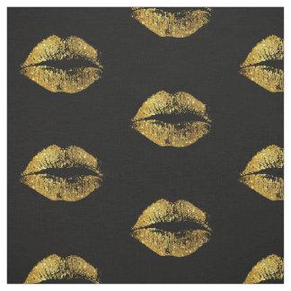 Tecido Lábios #2 do brilho do ouro