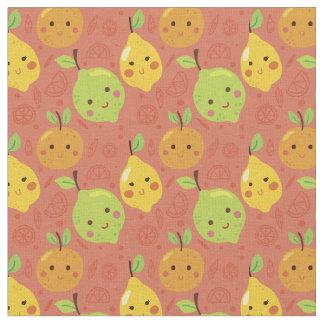 Tecido Laranja bonita bonito, limão e limão dos desenhos