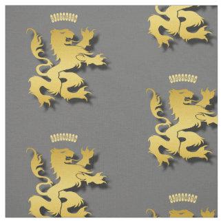 Tecido Leão ou tigre mitológico dourado heráldico