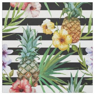 Tecido Listras tropicais do preto da flor do abacaxi da