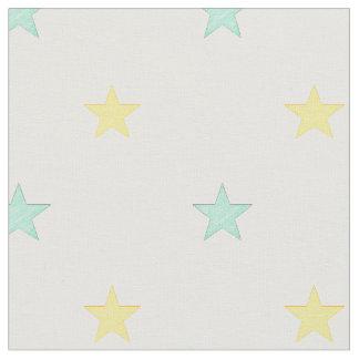 Tecido Luz - amarelo e estrelas de turquesa