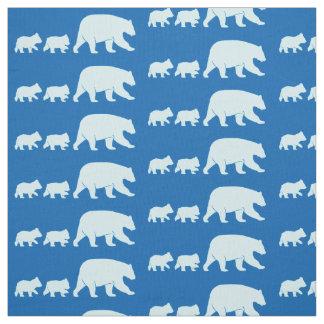 Tecido Mama Carregamento e Cubs no azul